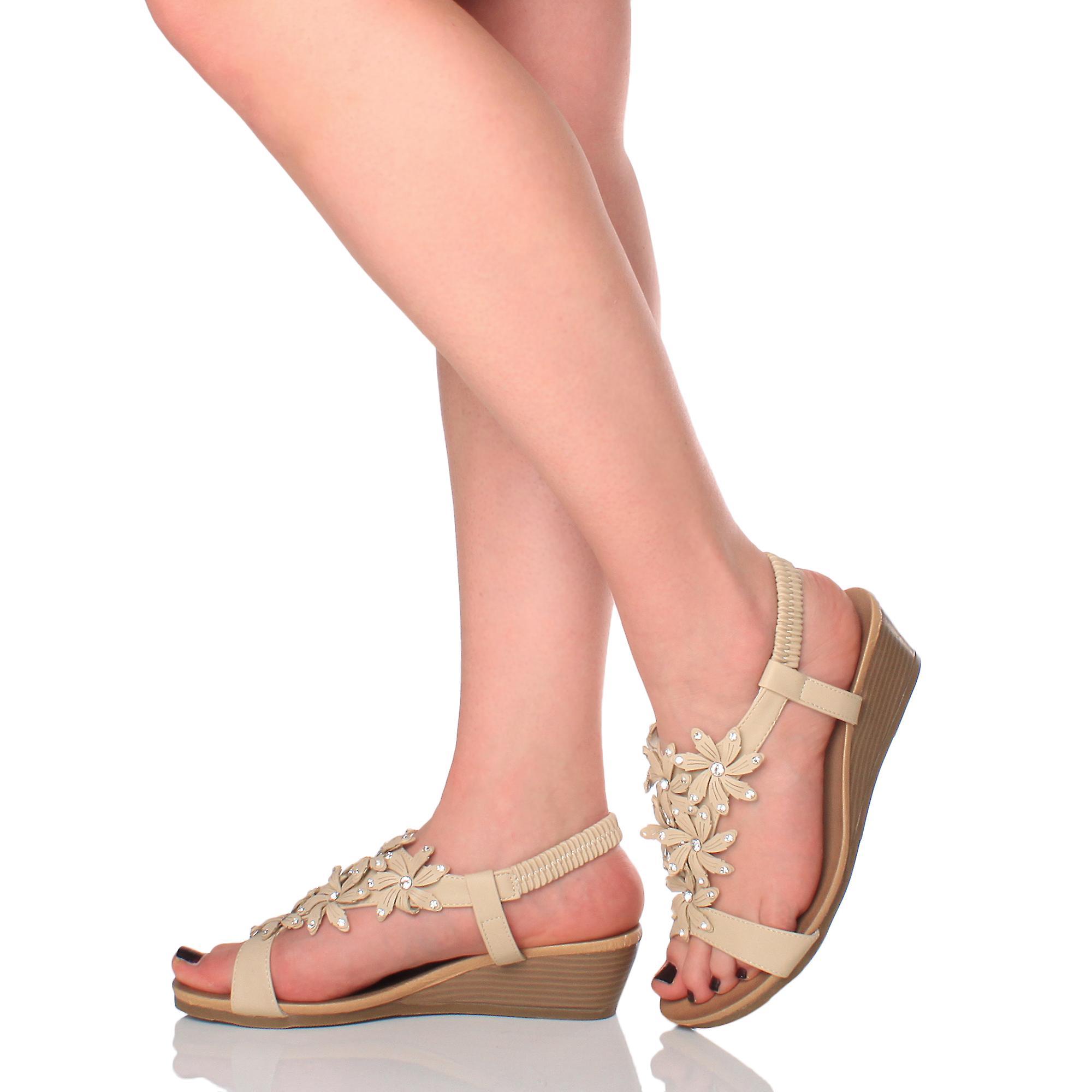 Ajvani Womens Low Mid Heel Wedge Slingback Flower Diamante Summer Sandals