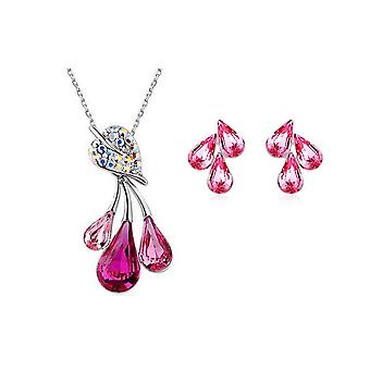 Rainbow Womens Jewellery Set Flower Leaf Waterdrop Pendant Necklace and Earrings