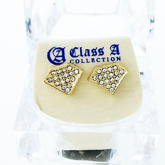 Guld bling Ice ud øreringe - cubic zirconia 12 mm