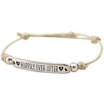 Bracelet Gemshine Pour Femme Engravure HAPPILY EVER AFTER Silver Nude