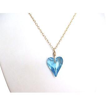 Herz Halskette hellblau Kristall Element RENÉE Herzkette vergoldet