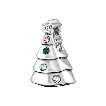 Christmas Tree - 925 Sterling Silver Jewelled Beads - W29560x