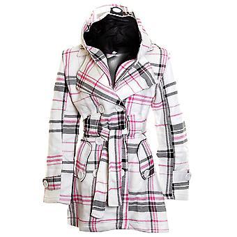 Nuevo botón de largo con cinturón de damas con capucha Duffle Coat de mujer chaqueta