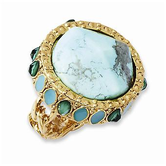 Laundry Gold tone Resin and Simulated Composite Stones Ring Jewelry Gifts for Women - Ring Size: 7 to 8