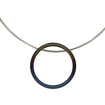Ti2 titaani Retro suuri riipus ja johto kaapeli kaulakoru - ruskea/sininen