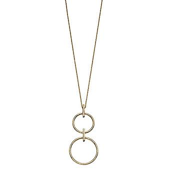 Elemente Gold Double Circle Drop Halskette - Gold