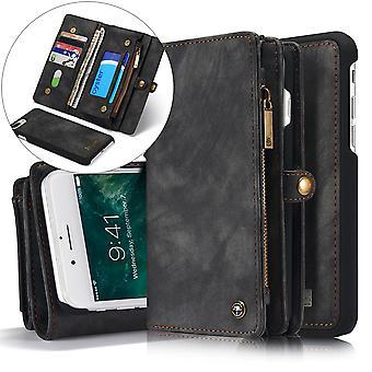 CASEME iPhone 8/7 Plus Retro Split portafoglio in pelle Custodia grigio