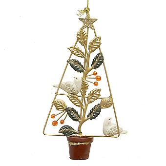 Gisela Graham Christmas Decoration 12013 Red Metal Turtle Doves In Pot Gisela Graham