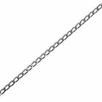 Silver 1.7mm wide diamond cut open Curb Pendant Chain 24 inches