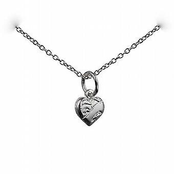 Silber 7x7mm Herz-Symbol der Nächstenliebe Anhänger mit einem Rolo Kette 24 Zoll
