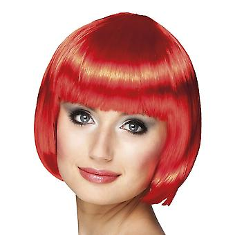 Womens Cabaret Red Bob Wig Fancy Dress Accessory