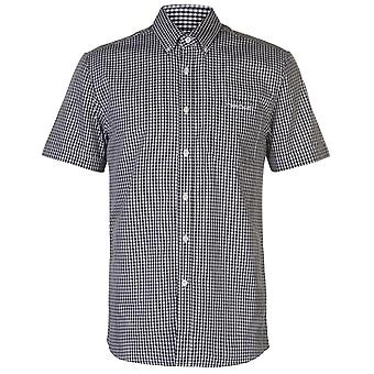 Pierre Cardin Mens Small Gingham Short Sleeve Shirt Casual Tops