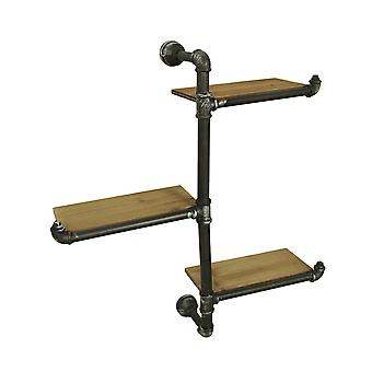 3 Tier Wall Mounted Rustic Industrial Offset Pipe Shelf