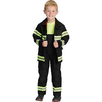 Zwarte brandweerman kind kostuum