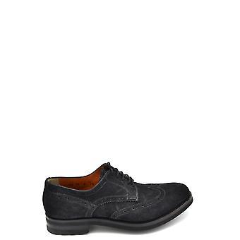 Santoni Ezbc023003 Men's Blue Suede Lace-up Shoes