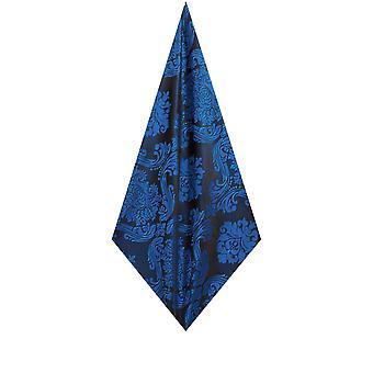 Dobell Mens Blue Pocket Square Handkerchief Satin Feel Fabric Victorian Jacquard Pattern Wedding Accessory