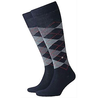 Burlington Preston chaussettes de genou haut - Marine Navy/Grey
