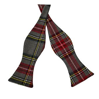 Traditional Light Grey Tartan Check Self-Tie Bow Tie, Scotland