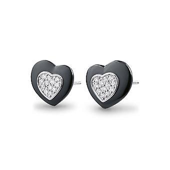 Hjärtan i keramik svart, Silver Örhängen och kristaller av Cubic Zirconia