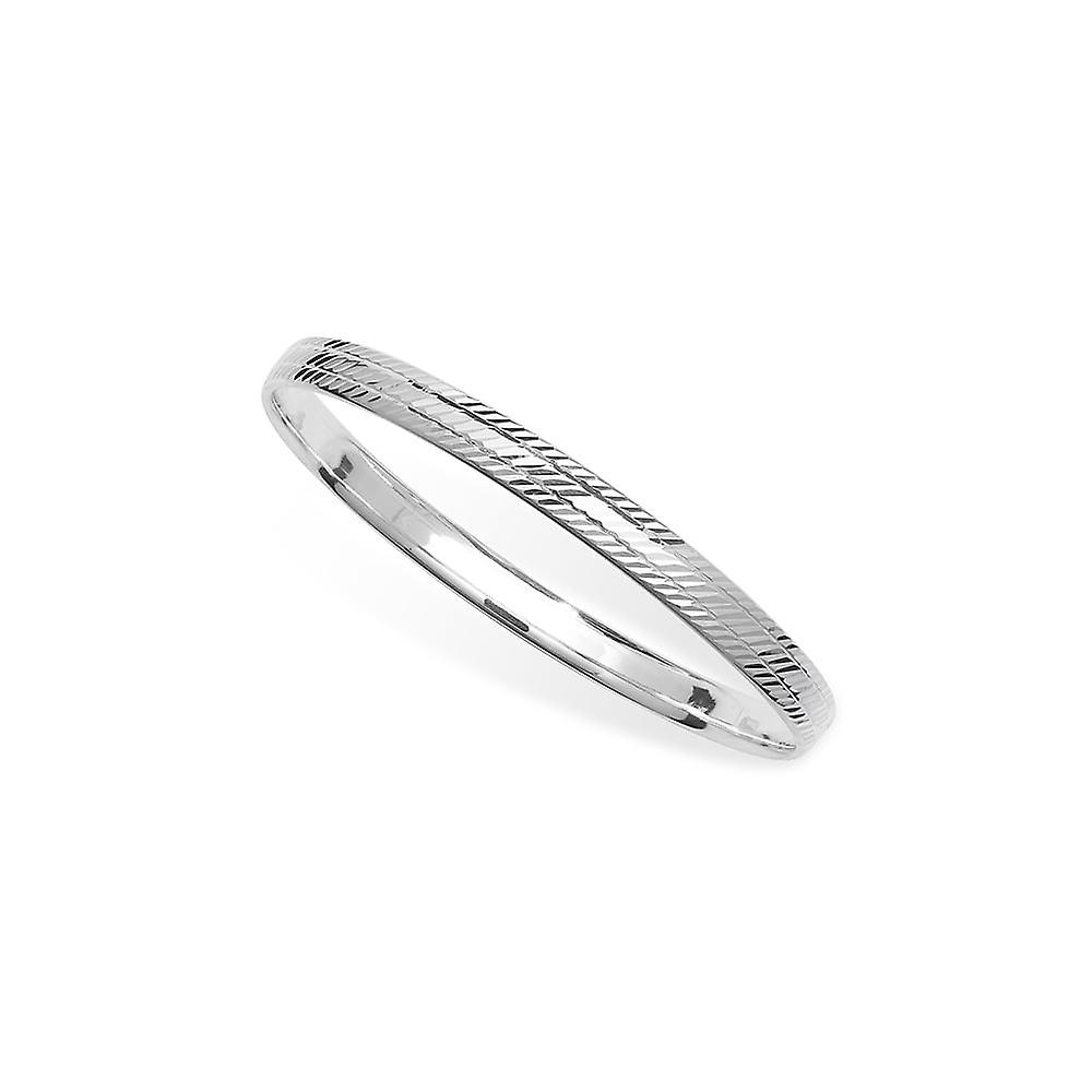 Eternity Sterling Silver Broad Diamond Cut Patterned Bangle