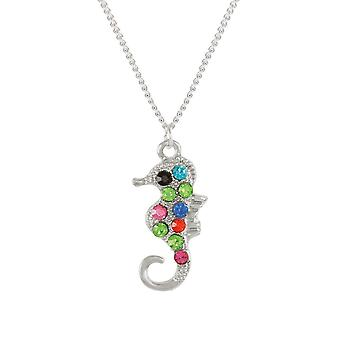 Eternal Collection Serena The Seahorse Multi Crystal Silver Tone Pendant