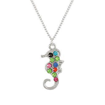Eeuwige collectie-Serena de hanger met zilveren Toon van de Seahorse-Multi Crystal