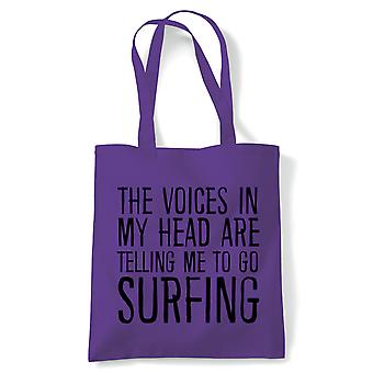 Voices In My Head Surfing, Tote - Reusable Shopping Canvas Bag Gift