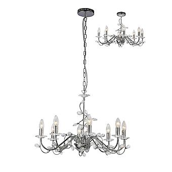 Diyas Willow Pendant Without Shade 8 Light Polished Chrome/Crystal