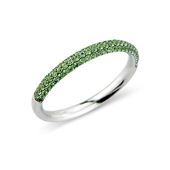 Κοσμήματα του Λονδίνου 18ct λευκό χρυσό πράσινο GARNET προετοιμαστεί-σετ γαμήλιο δαχτυλίδι αιωνιότητας-2.5 mm