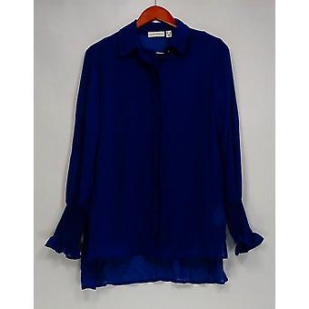 Susan graver vrouwen ' s top pure chiffon knop front shirt blauw A298494