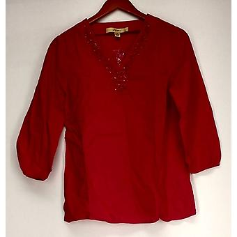 Motto 3/4 Sleeve Tunic w/ Embellished Neckline Fuchsia Pink Top #2