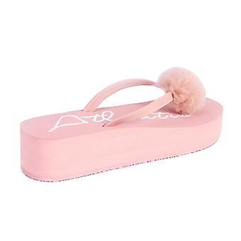Fluffy pink wedge flip flops