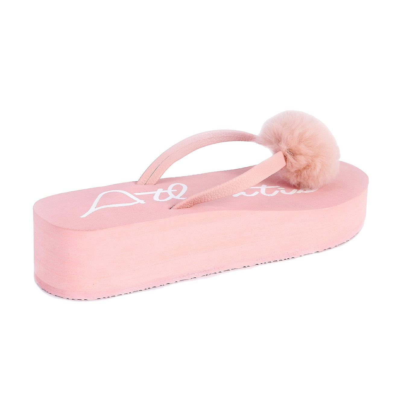 Fluffy pink wedge flip flops