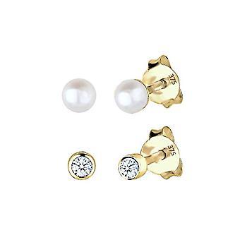 Elli PREMIUM 0309660214 Set aus Gelbgold 375 Damen Ohrstecker - mit weißen Perlen gewachsen d ' süßwasser- oder diamant (0 -06 ct) hell geschnitten