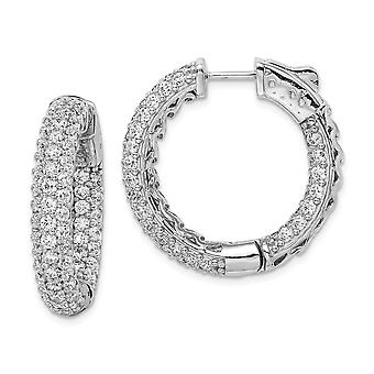925 Sterling Silver Polished Hinged hoop Safety clasp Rhodium plated Rhodium Plated CZ Cubic Zirconia Simulated Diamond