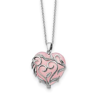 925 Sterling Silver polerad gåva boxed Spring Ring Rhodium pläterad med ros kvarts Halsband 18 Inch Smycken Gåvor för W