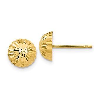 14k Brilho amarelo de ouro cortado 8mm Domed Post Brincos Joias Presentes para Mulheres
