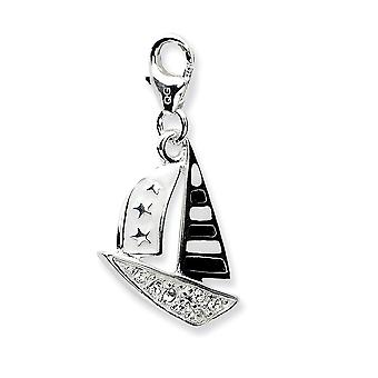 925 Sterling Silver Rhodium plated Fancy Lobster Closure 3 d Enameled Sailboatw Lobster Clasp Charm Pendant Necklace Mea