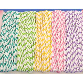 20m Pastel Assorted Bakers Twine String | Twine Cord & Elastic for Crafts