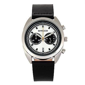 Breed Racer Chronograph Leather-Band Watch w/Date - Silver/Black