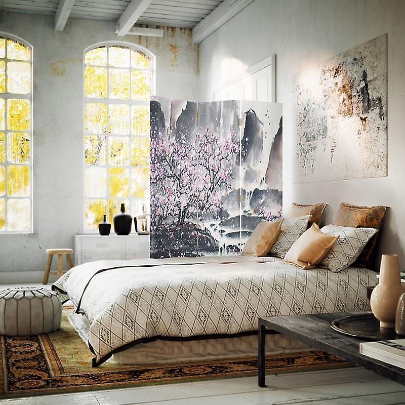 Diviseur de chambre, 3 panneaux, unilatéral, toile, cerise rose