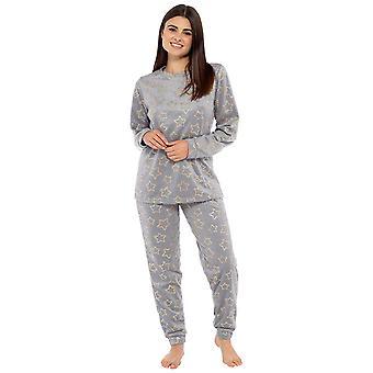 Ladies Foil Star Print Micro Fleece Twosie Style Pyjama Set