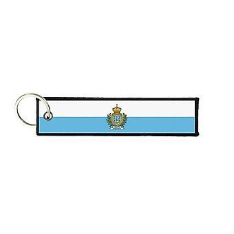 Port Cles Schlüssel Cle Homme Homme Stoff Drucke San Marino San Marino Flagge