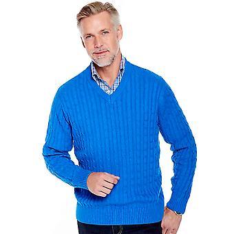 Pegasus Mens Cotton Cable V Neck Jumper Sweater
