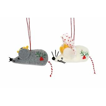 Gisela Graham Set of 2 Mice with Crowns Dec