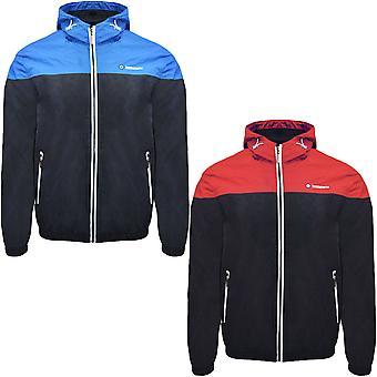 Lambretta Mens Colourblock Long Sleeve Full Zip Hooded Windbreaker Jacket Top