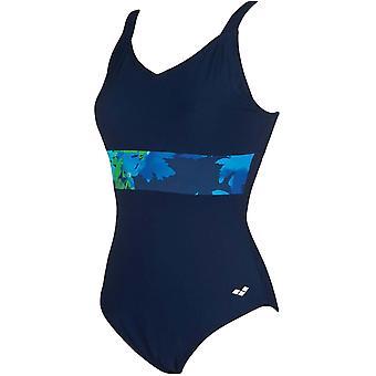 アリーナレディースドリスウイングバックワンピーストレーニング水着衣装 - ネイビー