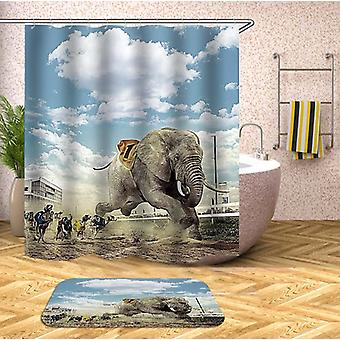 Elephant Hits The Track Shower Curtain