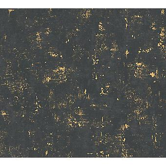 Industrial Concrete Look Vinyl Wallpaper Non-Woven Black Gold Metallic Textured
