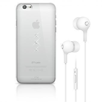 Coque Pour Iphone 6 / 6s Transparente + écouteurs Avec Cristaux De Swarovski